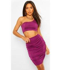 crop top met blote schouder en geplooide mini rok set, purple