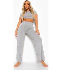 basic ingekorte wide leg pyjama, grey