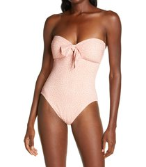 women's robin piccone ally bandeau one-piece swimsuit, size 6 - coral