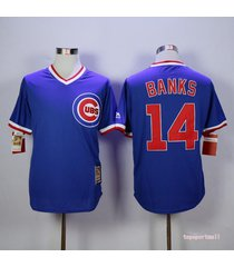 men's chicago cubs 14 ernie banks blue cool base pullover jersey full size