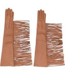 manokhi textured fringed edge gloves - brown