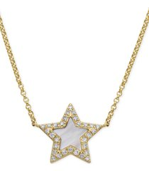 "effy mother-of-pearl & diamond (1/8 ct. t.w.) star pendant necklace in 14k gold, 16"" + 2"" extender"
