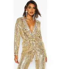 sequin tie belt blazer, gold