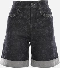 chloé stretch cotton shorts with east-west embroidery