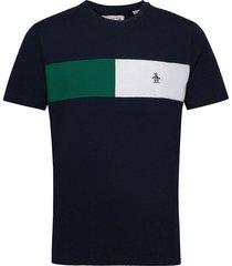 colour block chest stripe t-shirt t-shirts short-sleeved blå original penguin
