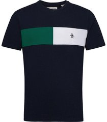 colour block chest stripe t-shirt t-shirts short-sleeved blå original penguin