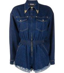 versace jeans couture denim decorative collar playsuit - blue