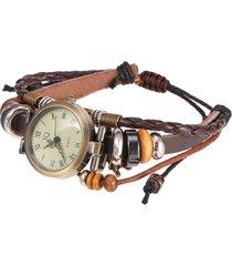 orologi di quarzo del braccialetto di fascino del pendente della torre eiffel dei branelli di legno del turchese d'annata del tessuto