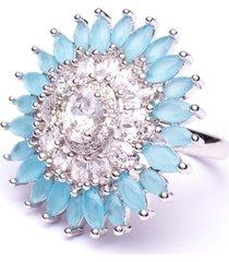 anel boca santa flor imperial - ouro branco