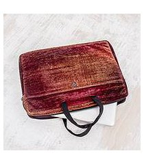 bamboo chenille and cotton laptop case, 'iridescent lands' (14 inch) (guatemala)