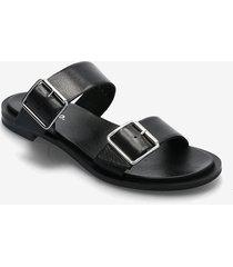 biadarla buckle sandal shoes summer shoes flat sandals svart bianco