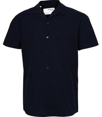 slhregnew-linen shirt ss resort w kortärmad skjorta blå selected homme