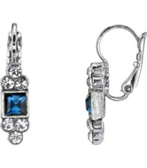 2028 silver-tone blue square with clear crystal accent petite drop earrings