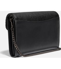 coach women's mixed leather bead chain tabby chain clutch - black