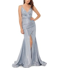 betsy & adam slinky metallic slit gown