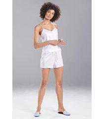 natori feathers satin elements shorts pajamas, women's, white, size l natori
