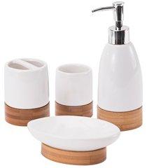 kit de acessórios para banheiro em cerâmica com 4 peças bambu