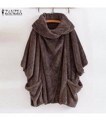zanzea mujeres batwing paño grueso y suave capa de la chaqueta de abrigo de punto caliente parka puente suéter -café