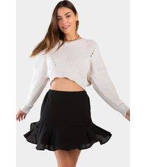 beliza godet ruffle skirt - black