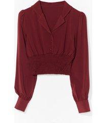 shirring detail blouse - red