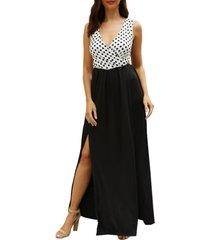 polka dot print high slit cut out maxi dress