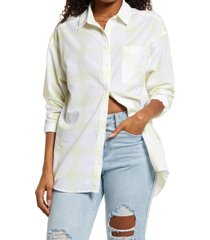 bp. plaid button-up shirt, size small in white- green windowpane at nordstrom
