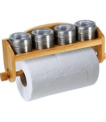 porta condimentos tempero bambu c/ suporte para papel toalha marrom - marrom - dafiti