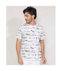 camiseta masculina estampada manga curta de folhagem listrada gola careca branca