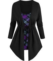 plaid print toggle drawstring faux twinset sweater