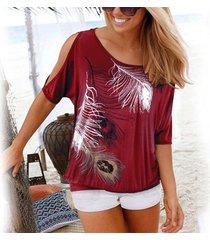 estampado de plumas con tops mujer descubiertos cuello redondo camiseta