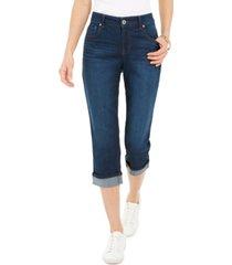 style & co petite curvy cuffed capri jeans, created for macy's