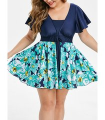 plus size flutter sleeve floral print tankini swimsuit