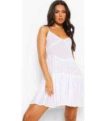 gekreukelde katoenen strand jurk met ceintuur en laagjes, white