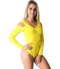 body ayron fitness manga longa amarelo