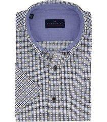 overhemd portofino korte mouw blauw gele print