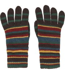 brown striped gloves