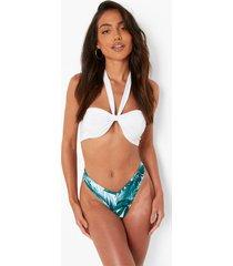 palm print bikini broekje met v-taille, green