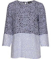 blouse 3/4-sleeve blus långärmad blå taifun