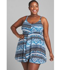 lane bryant women's printed mesh flyaway no-wire swim dress 16 global batik