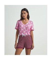 blusa de pijama manga curta estampa poá | lov | rosa | gg