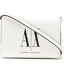 armani exchange logo print crossbody bag - white