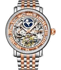 stuhrling men's rose gold - silver tone stainless steel bracelet watch 49mm