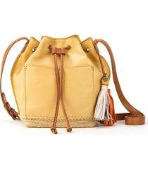 the sak sierra leather drawstring bucket bag