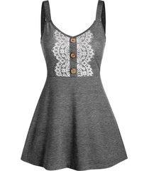 buttons lace applique high waist tank top