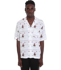 rhude cowboy hawaian shirt in white nylon