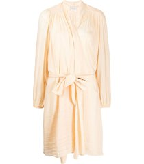 forte forte waist-tied fitted robe - neutrals