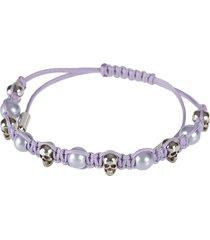 alexander mcqueen pearl & skull bracelet