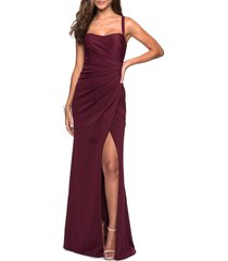 women's la femme ruched jersey a-line gown, size 4 - burgundy
