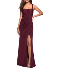 women's la femme ruched jersey a-line gown, size 8 - burgundy