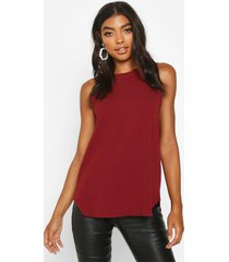 tall high neck strap top, wine